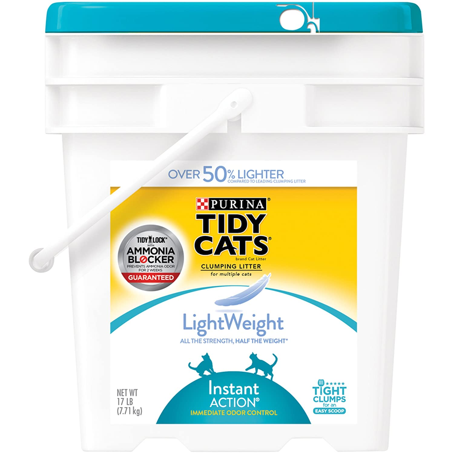 Tidy Cats Cat Litter, Clumping, Instant Action, Lightweight, 17-Pound Jug
