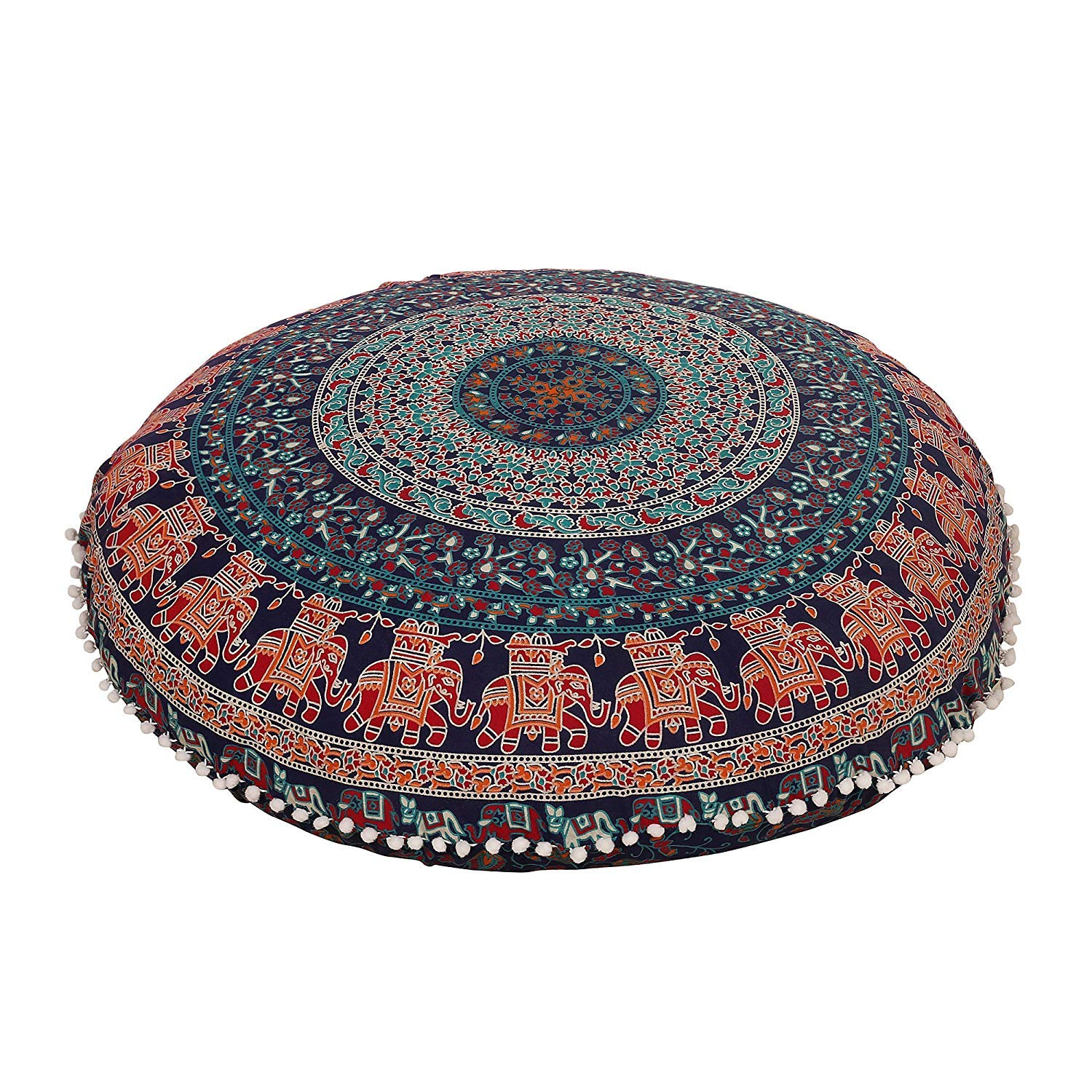 Glamorousfashion Indian Large Mandala Floor Pillow Comfortable Home Car Bed Sofa Large Mandala Floor Pillows Round Bohemian Meditation Cushion Cover Ottoman Pouf Cover Navy Blue