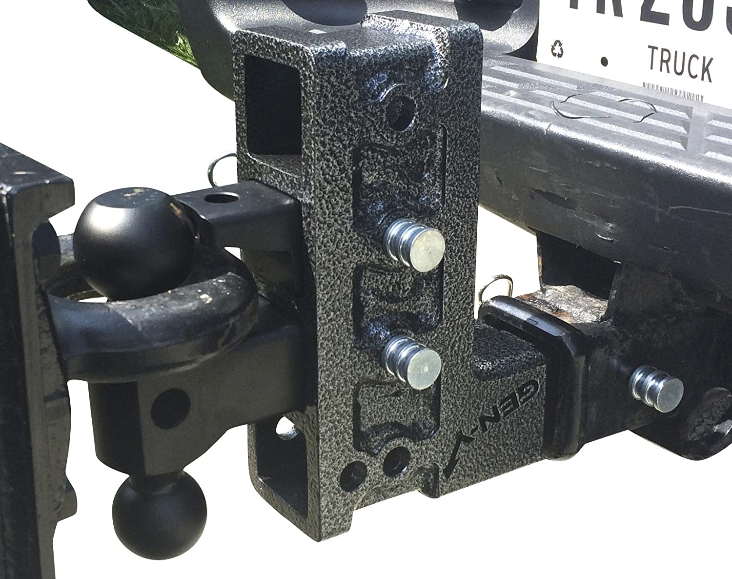 Includes Versa-Ball Mount and Pintle Lock 2000 Pounds Tongue Weight GEN-Y HITCH Mega-Duty Dual Receiver Hitch: Raise or Drop up to 12.5-16,000 Pounds Capacity GH-526