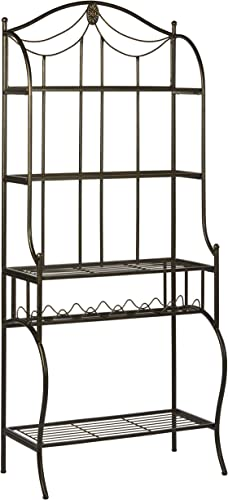 Hillsdale Camelot Baker s Rack, Black with gold highlights