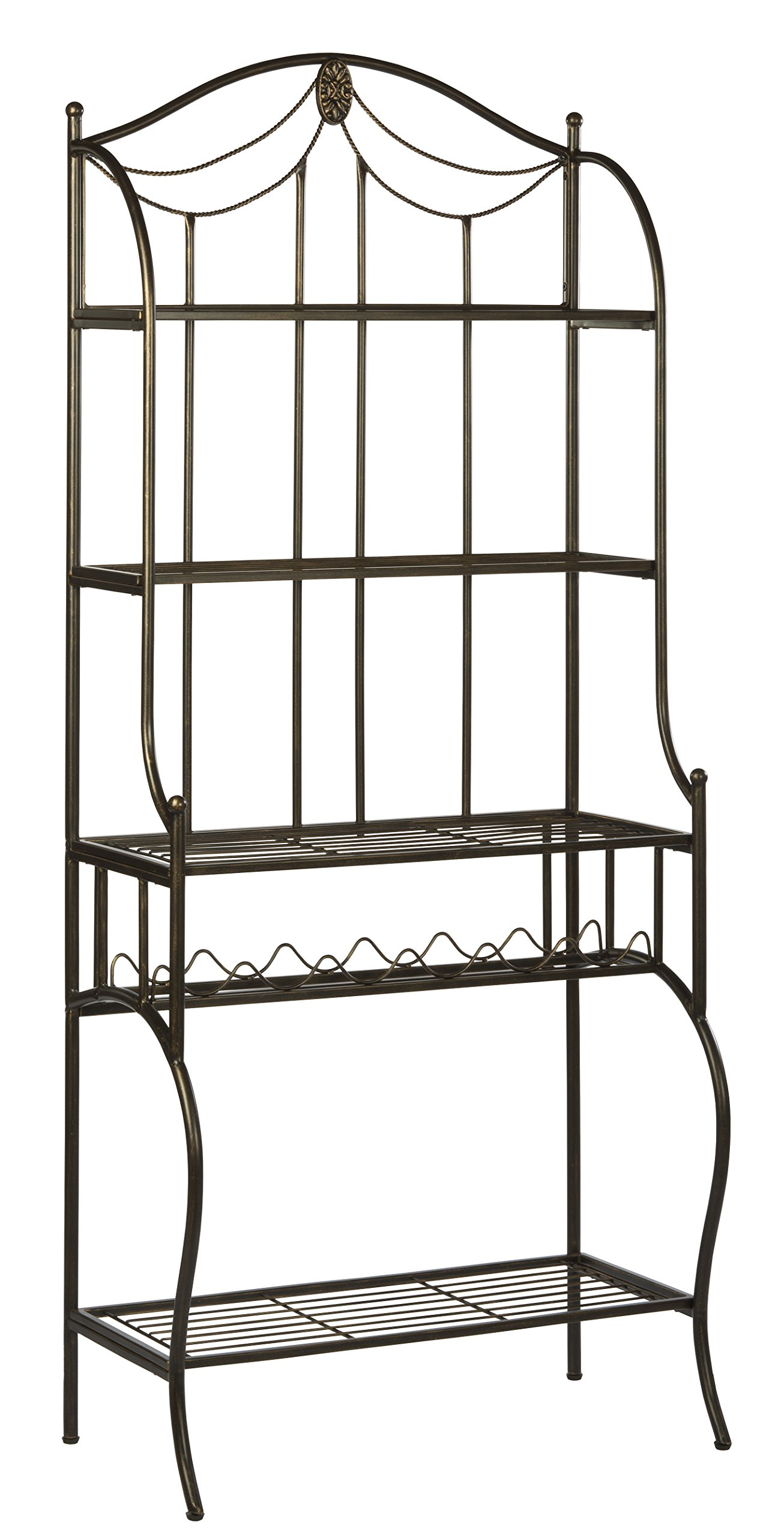 Hillsdale Camelot Baker's Rack, Black with gold highlights