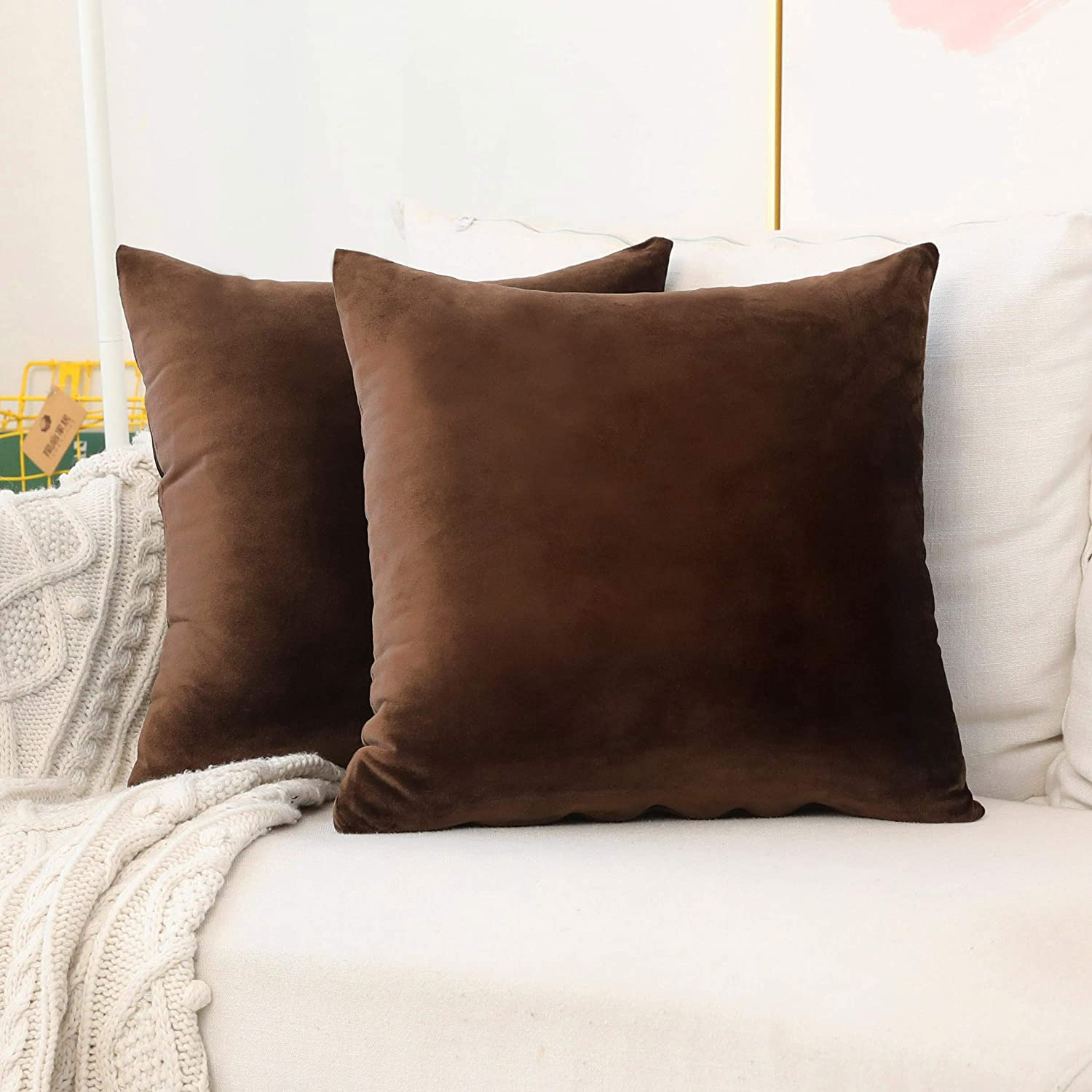 Home Brilliant Velvet Euro Shams Large Cushion Covers Pillow Case for Bedroom Floor Couch, Set of 2, 26 x 26 Inch(66cm), Brown