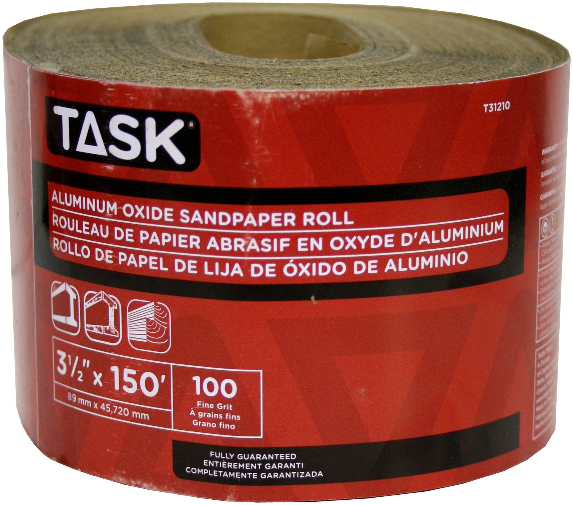 Task Tools T31210 3-1/2-Inch by 50 Yards Aluminum Oxide Sandpaper Roll, 100 Grit