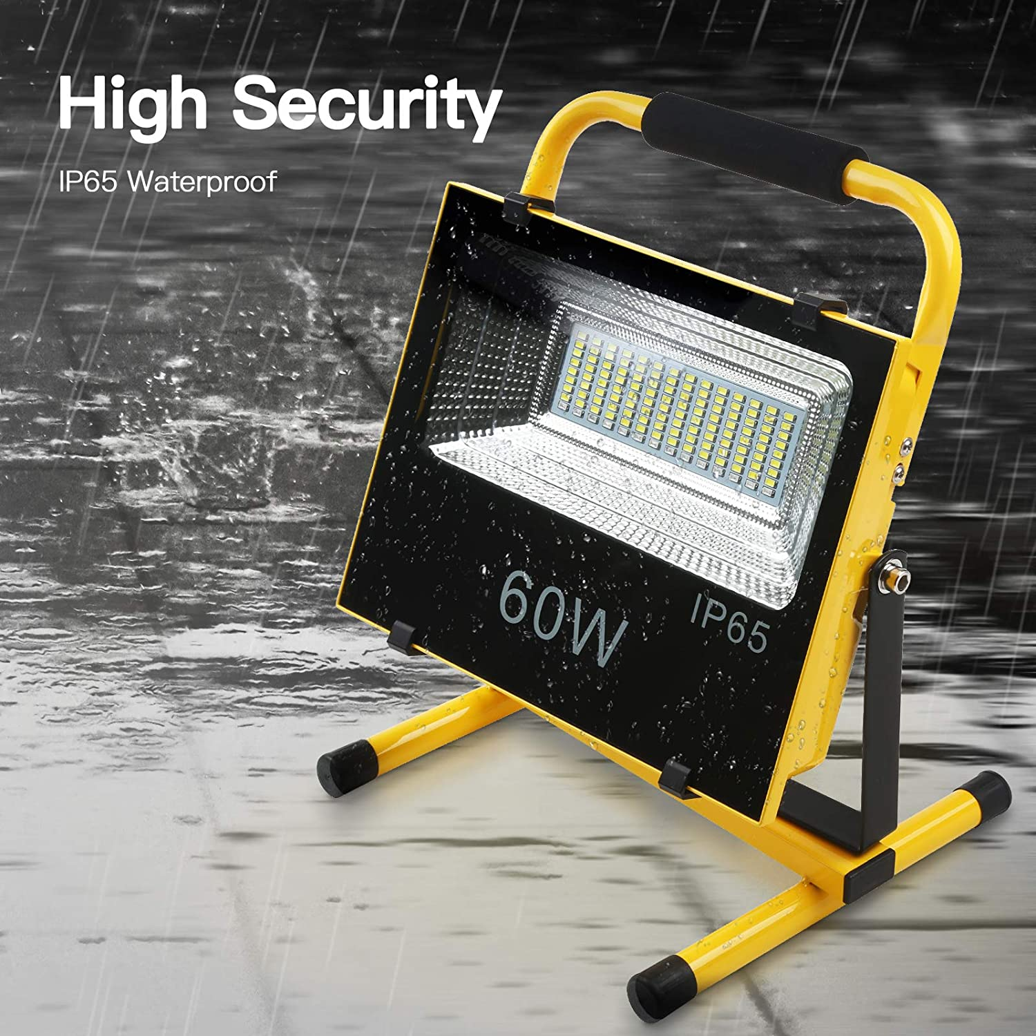 Portable Flood Light Waterproof 120 Degree Astigmatism Hand Lamp Spotlight Light Outdoor Camping Traveling Fishing Security Light 20W Led Work Light Rechargeable
