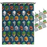 Jay Franco 浴帘和挂钩套装 Minecraft Isometric