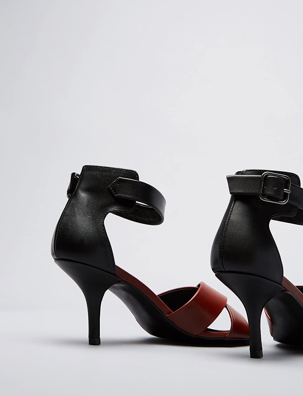 FIND FIND FIND Sandalen Damen mit Pfennigabsatz und Knöchelriemchen Mehrfarbig (Multi) 53e21f