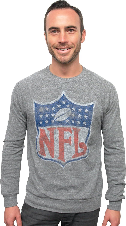 NFL Shield True Vintage Distressed Triblend Long Sleeve Crew Neck Pullover Men's