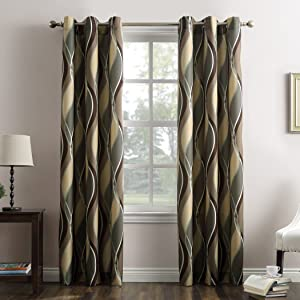 """No. 918 Intersect Wave Print Casual Textured Curtain Panel, 48"""" x 84"""", Spruce Green"""