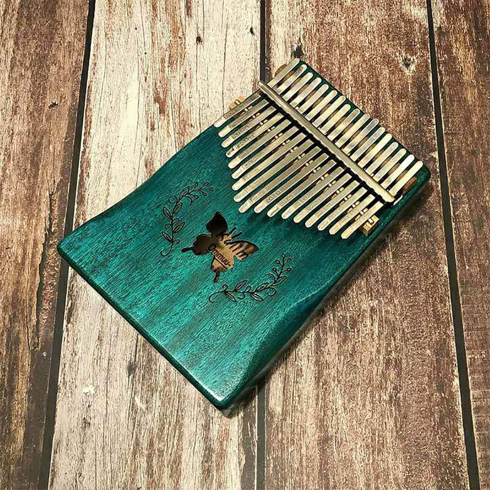 NJUY Kalimba Finger Piano 17 Keys,Mbira Kalimbas Made by Solid Mahogany Wood Body Ore Metal Tines with Study Instruction and Tune Hammer by NJUY