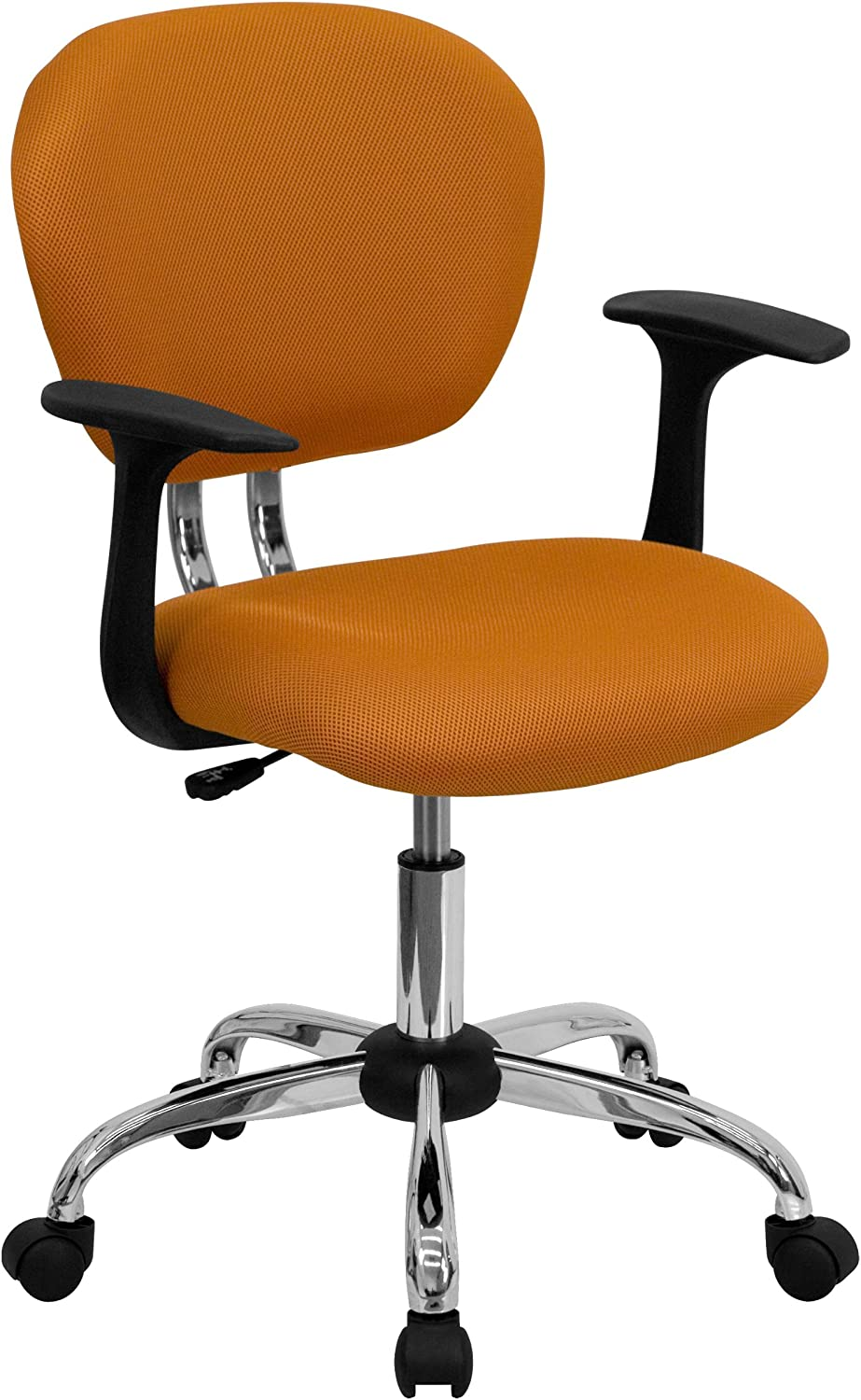 Flash Furniture Mid-Back Orange Mesh Padded Swivel Task Office Chair with Chrome Base and Arms