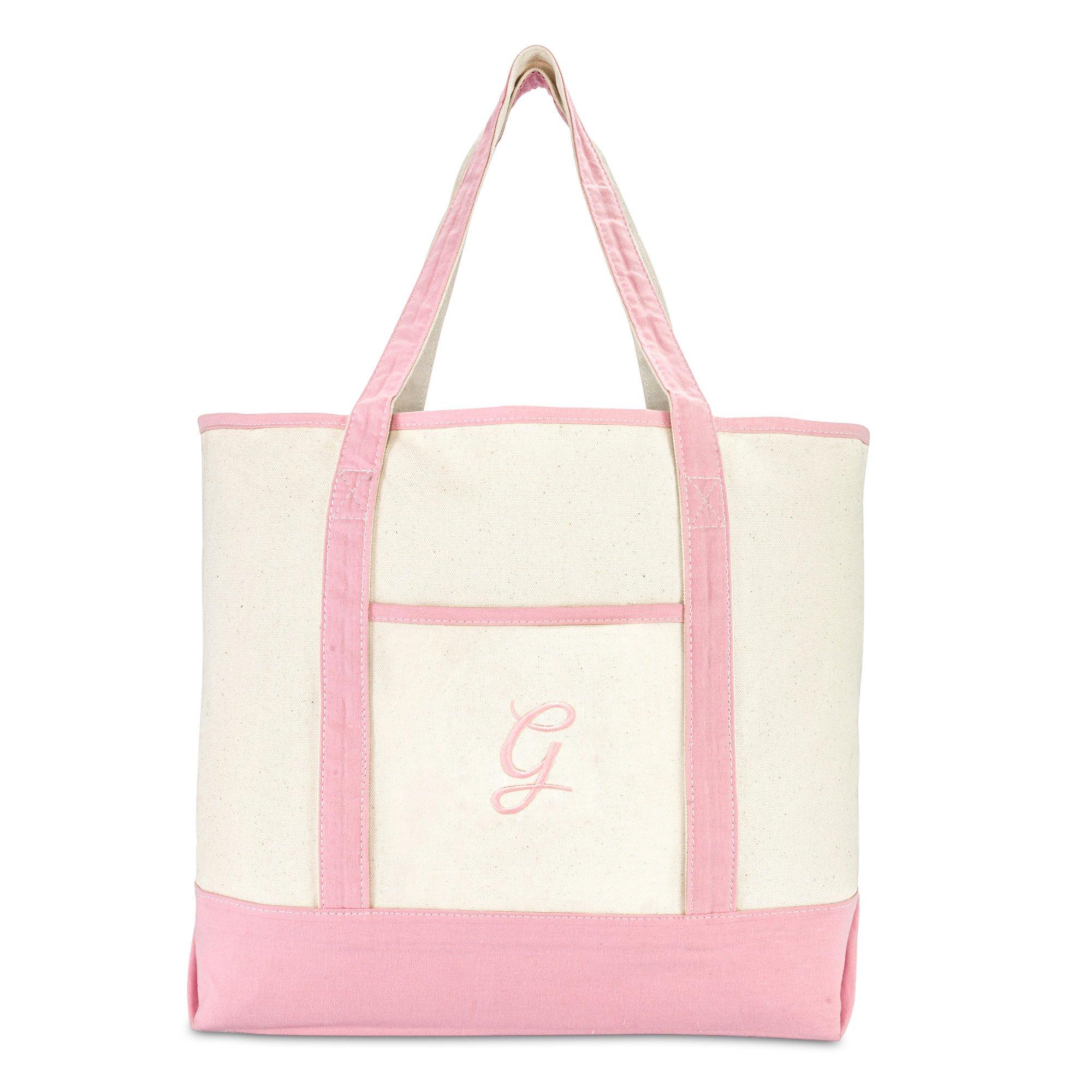 DALIX Women's Cotton Canvas Tote Bag Large Shoulder Bags Pink Monogram G by DALIX (Image #3)