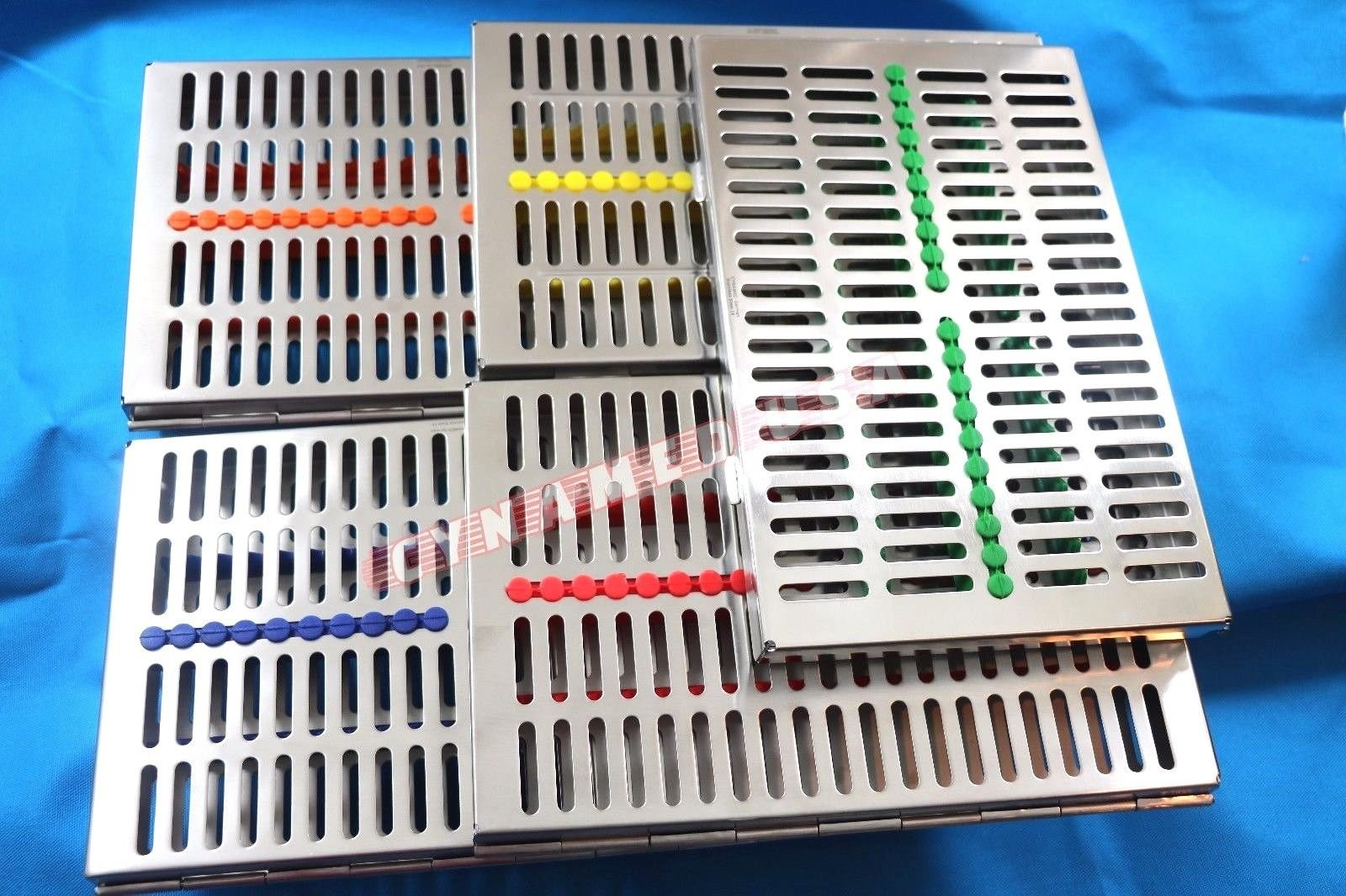 GERMAN STAINLESS 5 Dental Sterilization Cassette Rack Tray Box For 20 Surgical Instruments ( SET OF 5 COLOR )