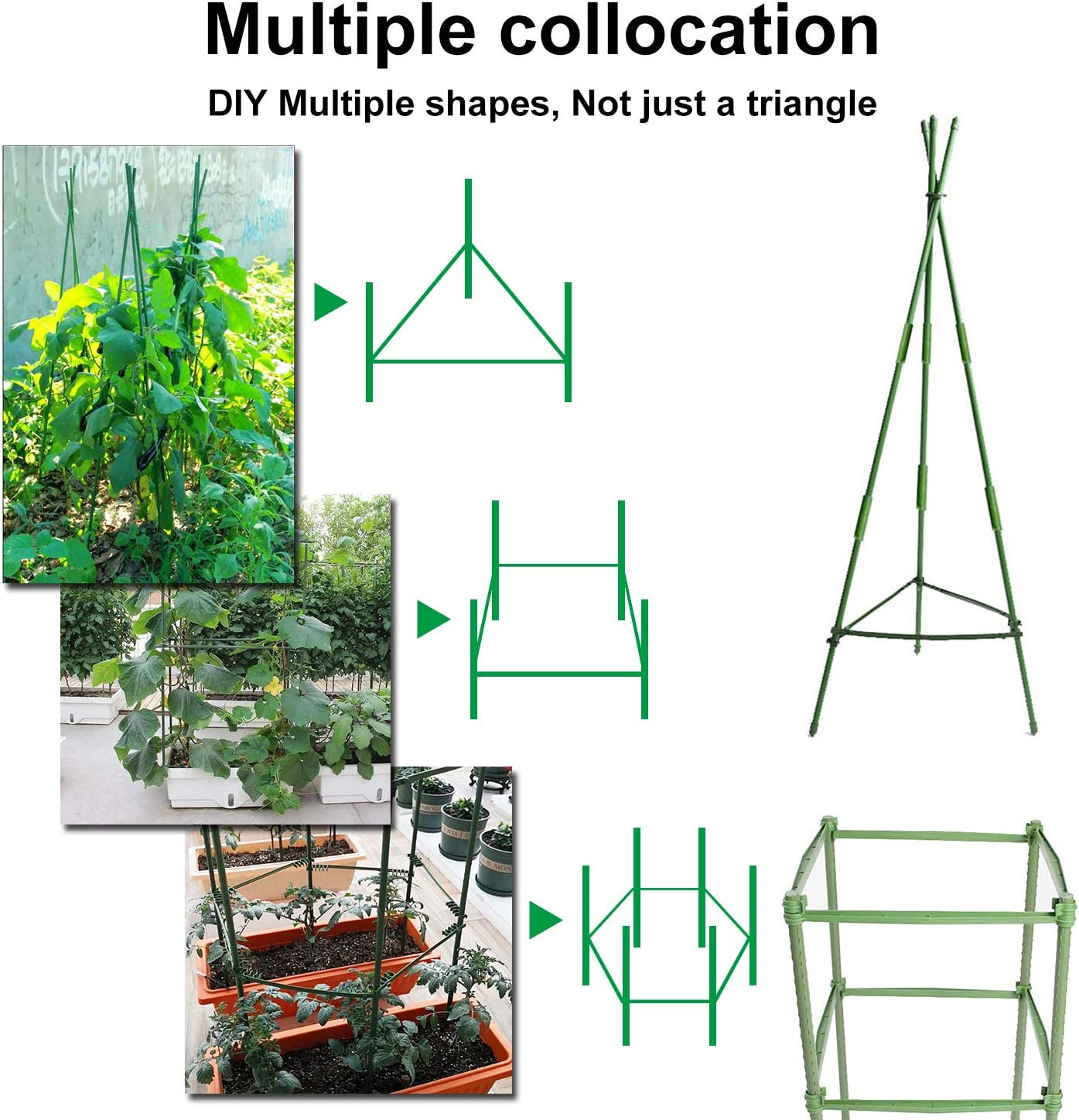Derlights Tomato Cages Assembled Plant Supports 6Pack Plant Cages Tomato Stakes Garden Cages Multi-Functional Tomato Trellis for Climbing Vegetables with 18Pcs Clips