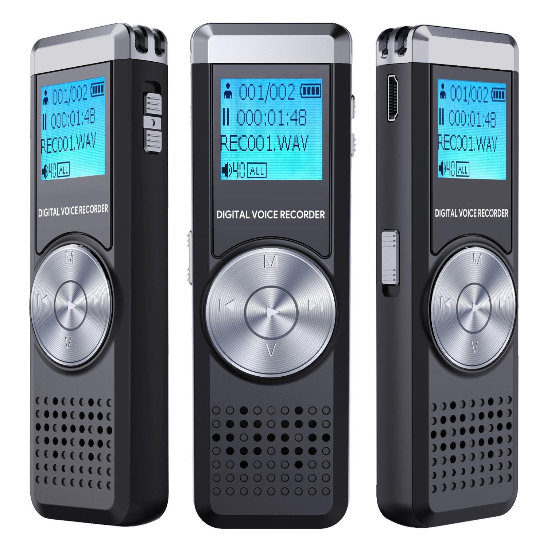 Registratore Vocale Digitale,TENSAFEE 8G Dittafono Registratore Di Suoni, Portatile Ricaricabile HD Audio Recorder con Doppia Registrazione Microfono chiaro,Lettore MP3/A-B Ripetizione/Un Tocco di Registrazione,I Registratori Vocali Possono essere Utilizza