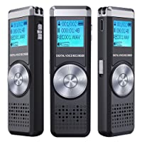 Dictaphone Numérique,TENSAFEE 8GB Dictaphone,Rechargeable HD avec double micro enregistreur audio vocal numérique,lecteur mp3/a-b répète/touche d'enregistrement, voix pour des Conférences/Réunions/Interviews/Conférence/Classe /d'enregistrement