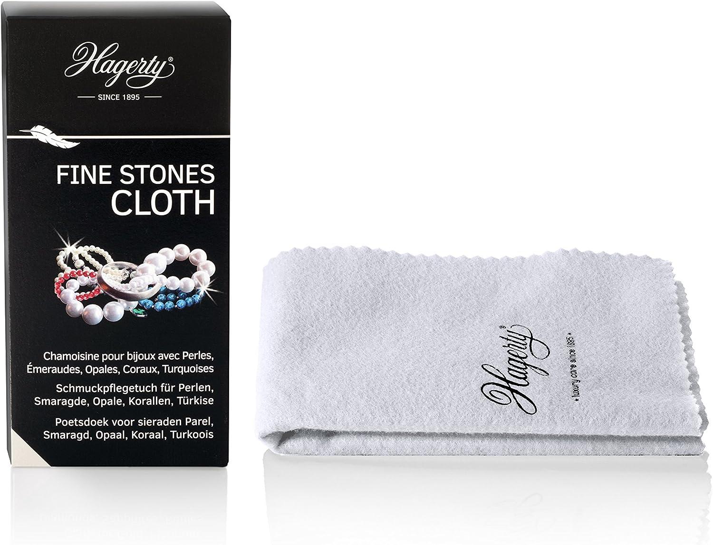 HAGERTY - Fines Stones Cloth - Gamuza impregnada limpia joyas con piedras naturales: perlas, esmeraldas, corales o turquesas - 1 unidad 36 x 30 cm