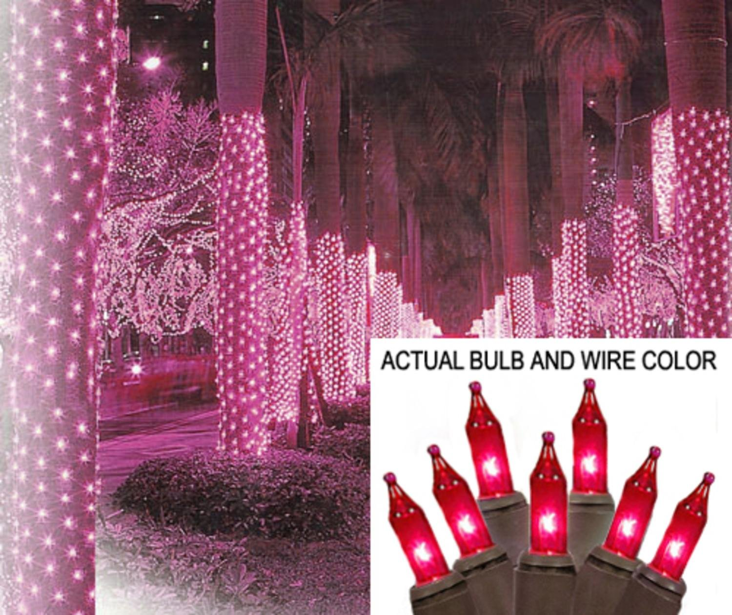 Sienna 2' x 8' Pink Mini Christmas Net Style Tree Trunk Wrap Lights - Brown Wire