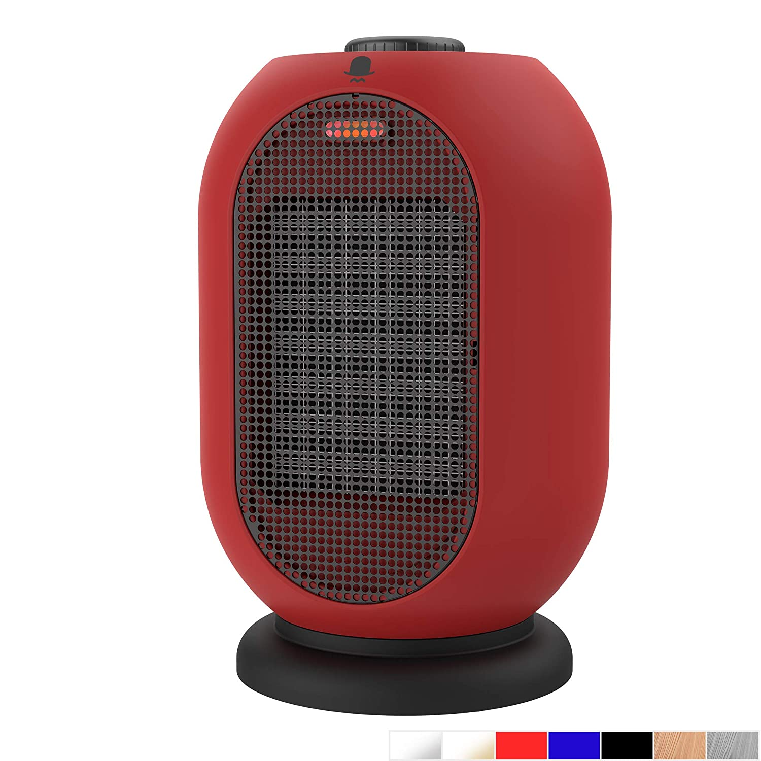 MRMIKKI Mini Space Heater, Small Electric Heater, 1200W 750W Heating Fan, Portable Ceramic Space Heater, with Tip-Over and Overheating Protection, Mini Indoor Heaters, Winter Gift, VH-12TQ-RB
