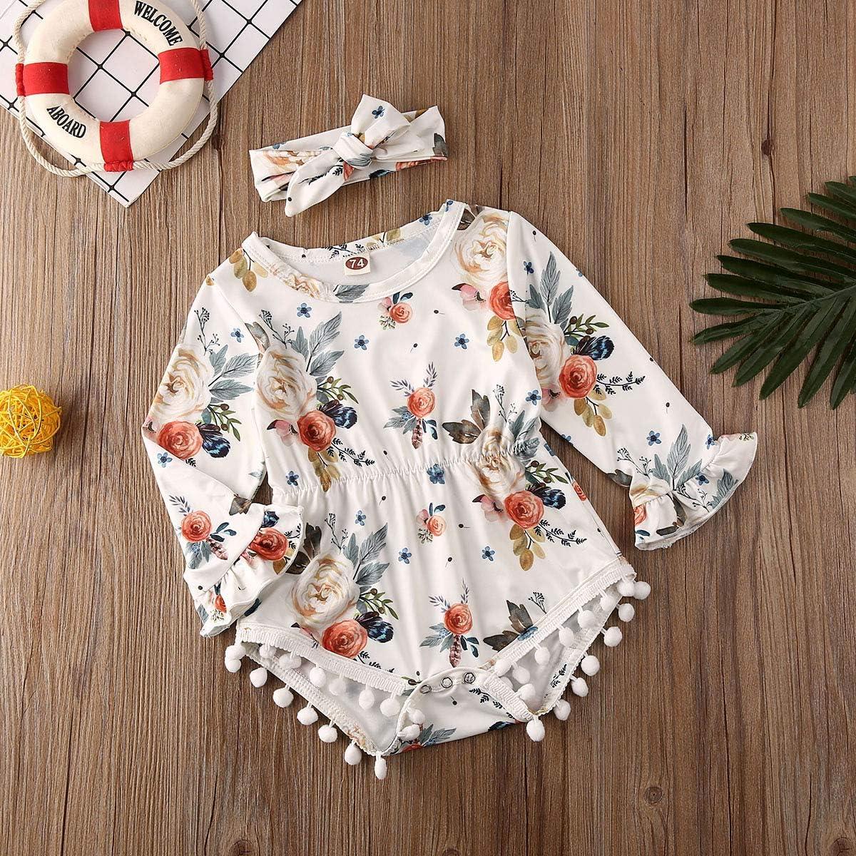 CIPOGL Neugeborenen Kleinkind Baby M/ädchen Strampler Kleidung Floral Quaste Body Overall Stirnband Outfit Sets