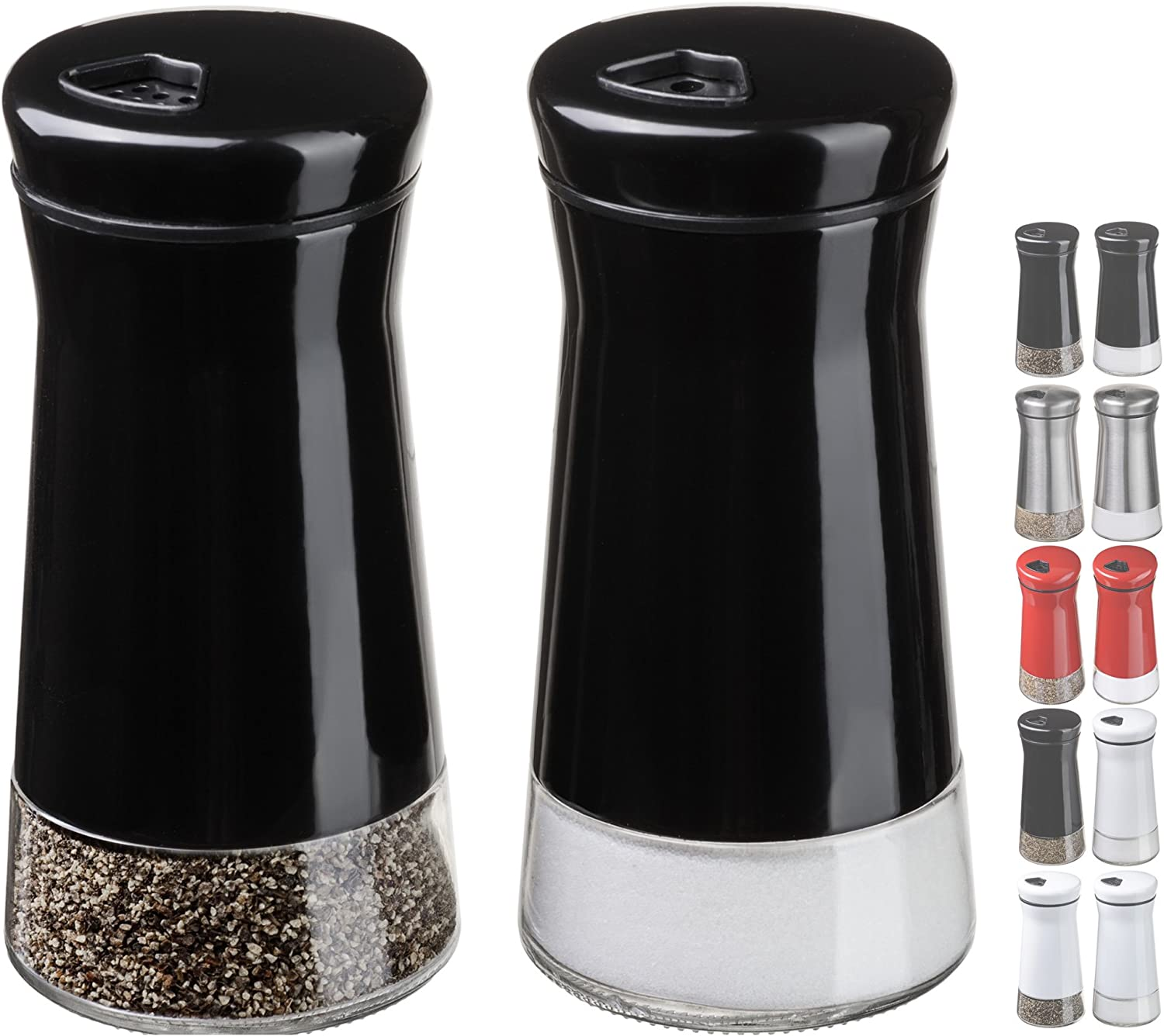 Amazon Com Chefvantage Salt And Pepper Shakers Set With Adjustable Holes Black Kitchen Dining
