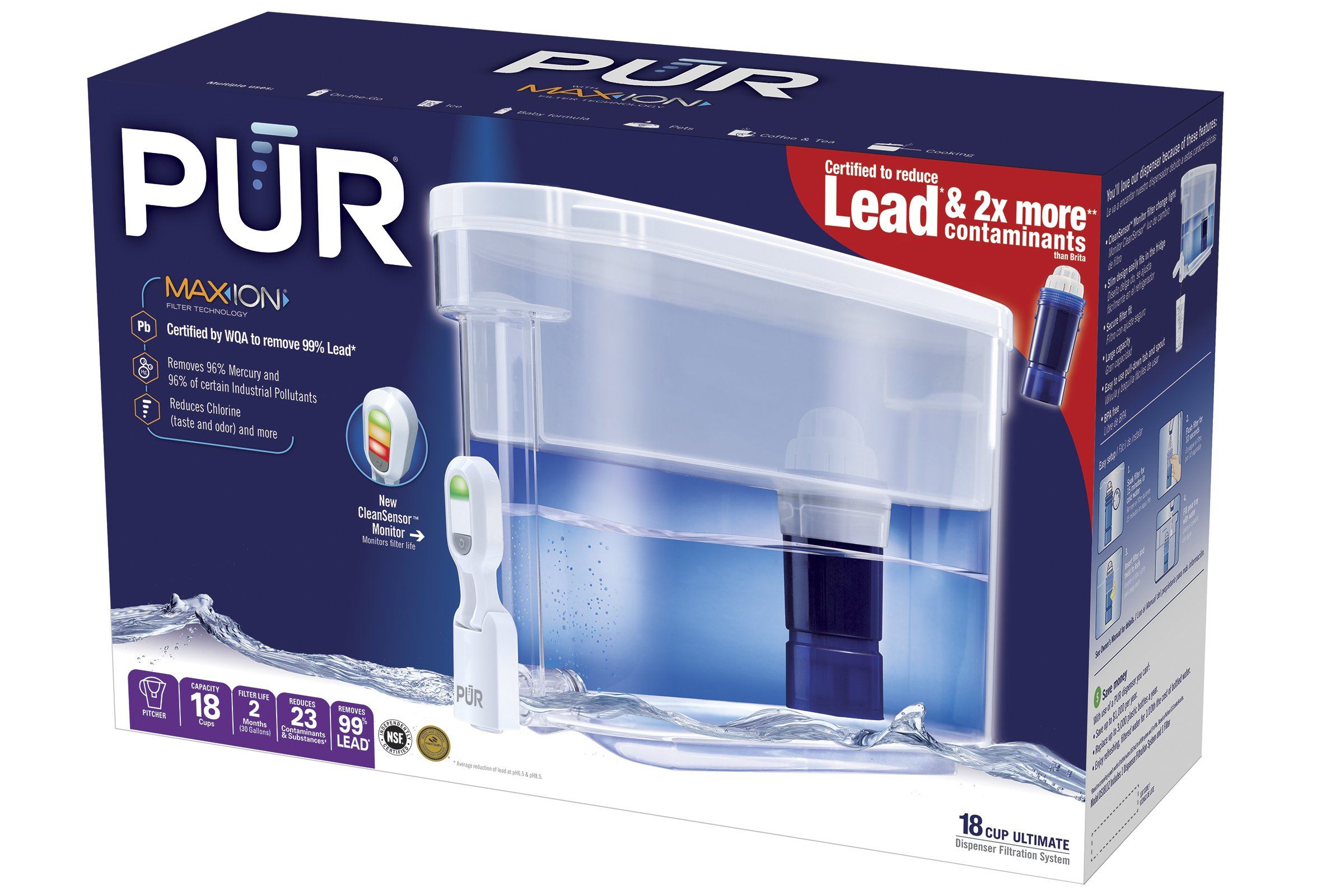 PUR Ultimate Water Dispenser w/LED & Lead Reduction Filter, White, DS1811Z - WQA Certified to Remove 99% of Lead, Filters Up to 30 Gallons/2 Months of Water by PUR (Image #2)