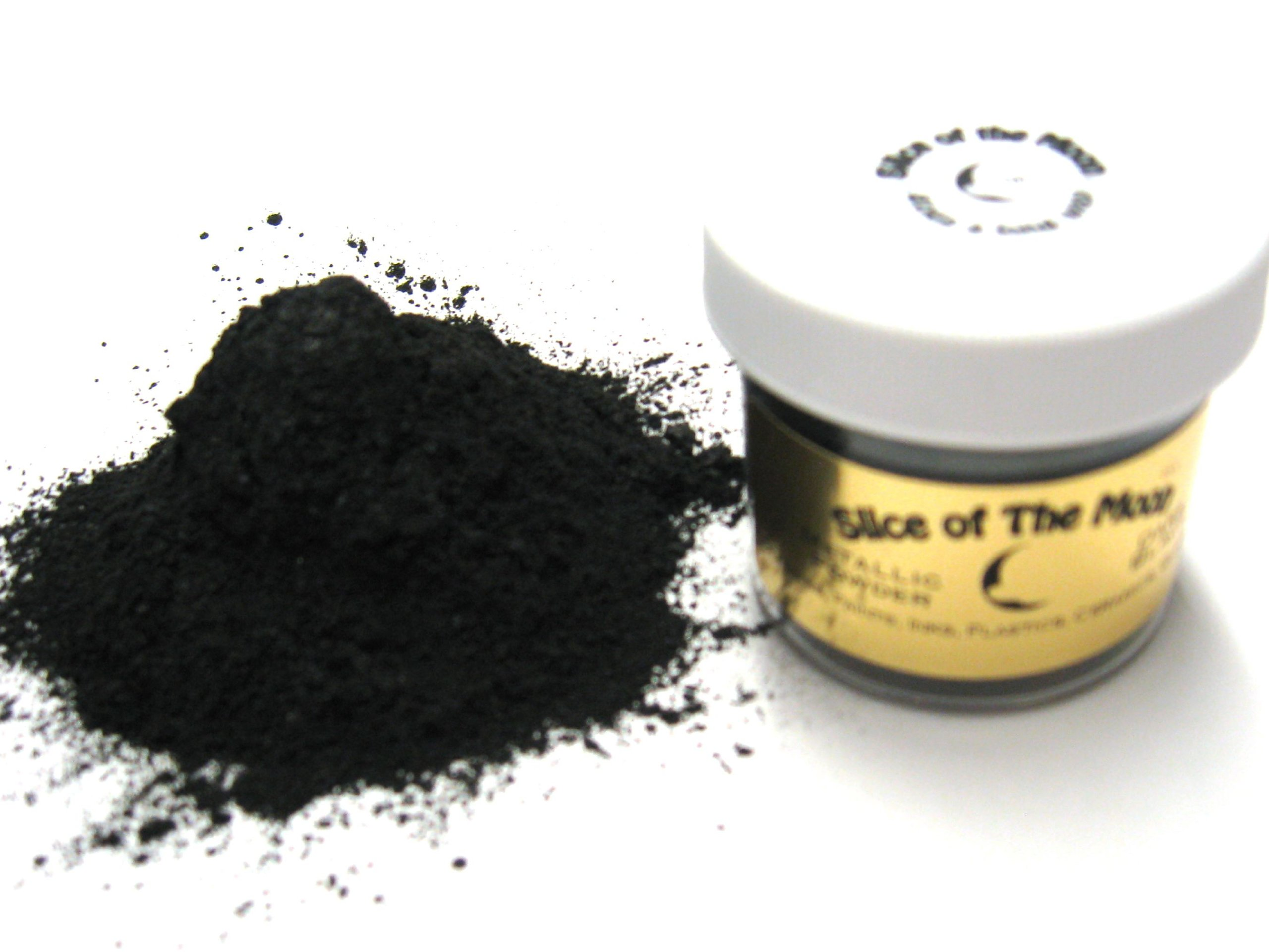 Dark Black Mica Powder 1oz, Black Metallic Powder, Pearl Pigment Powder, Cosmetic Mica, Slice of the Moon