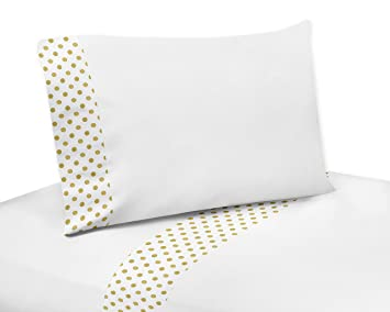 sweet jojo designs 4piece gold and white polka dot queen sheet set for amelia