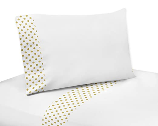 4 Piece Gold and White Polka Dot Queen Sheet Set for Amelia Bedding Collection