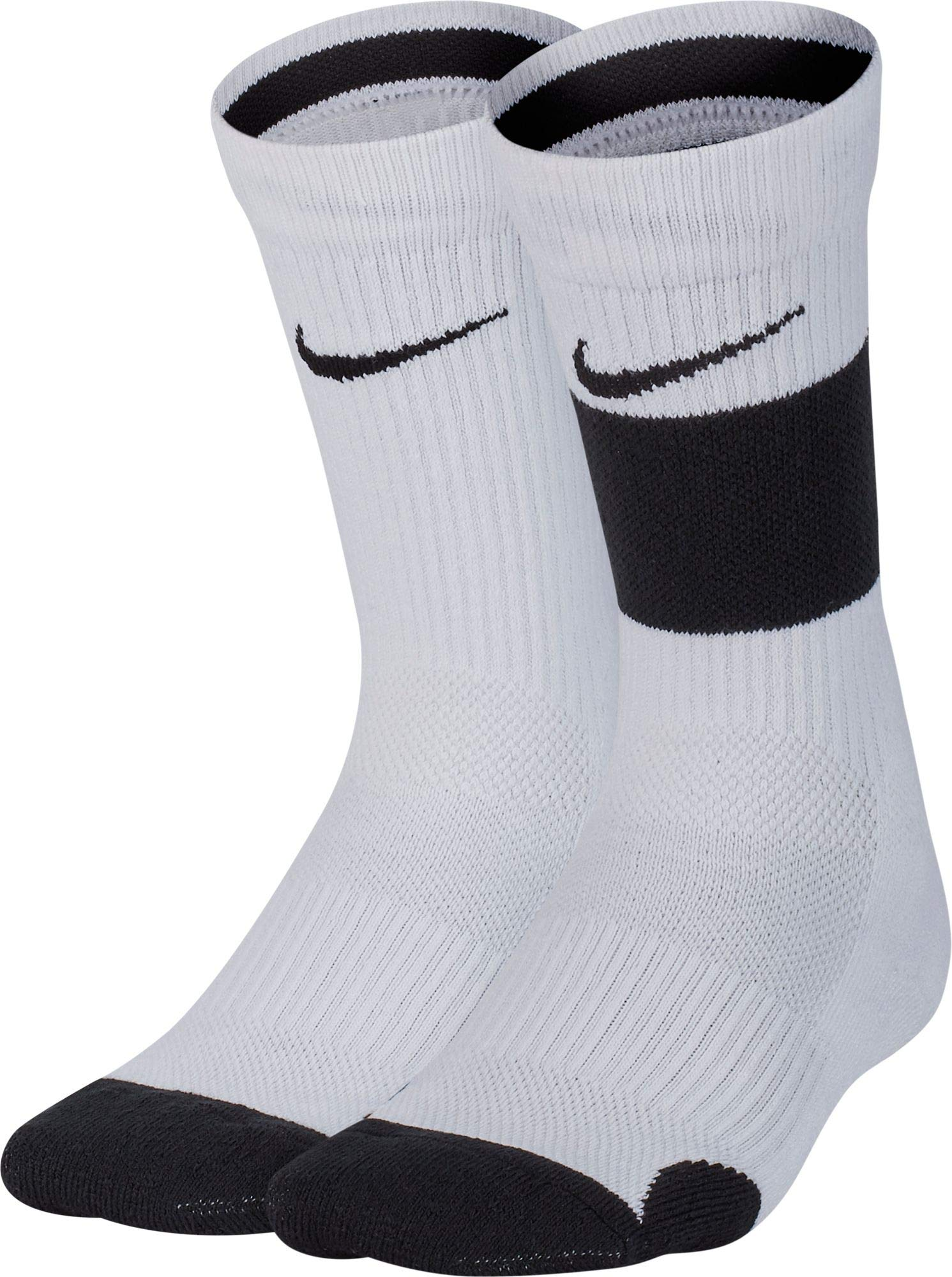 Nike Youth Elite Basketball Crew Socks 2 Pack (White/Black, Medium) by Nike