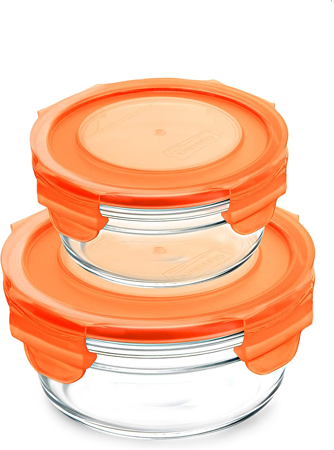 Snaplock Lid Tempered Glasslock Storage Round Containers 4pc set Combo with Orange Lid - Microwave & Oven Safe Spill Proof