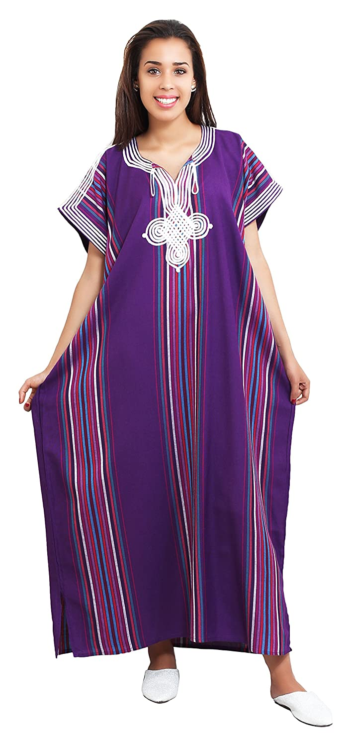 Moroccan Caftans Women Light Weight Linen Handmade One Size SMALL to LARGE Cover-up Lounge wear Ethnic Design Purple Treasures Of Morocco Beach Dress Purple
