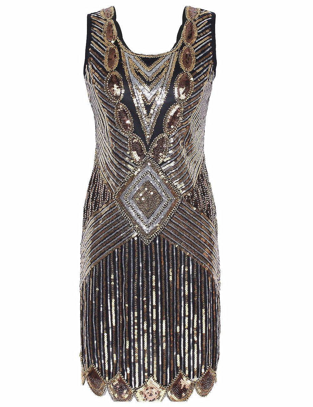kayamiya Womens 1920S Sequined Beaded Back Deep V Gatsby Flapper Evening Dress