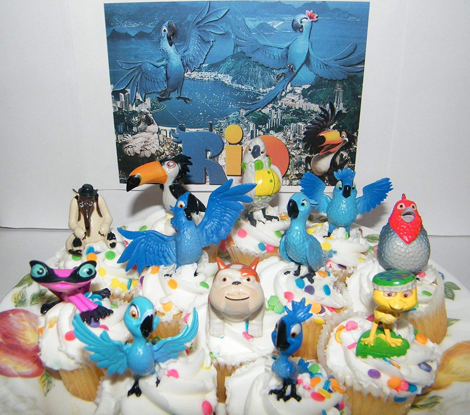 Rio Movie Set of 12 Bird Figure Cake Toppers / Cupcake Decorations Party Favors with Blu, Jewel, the 3 Kids, Luiz, Nigel and New Characters Gabi, Charlie and More! by PP Inc