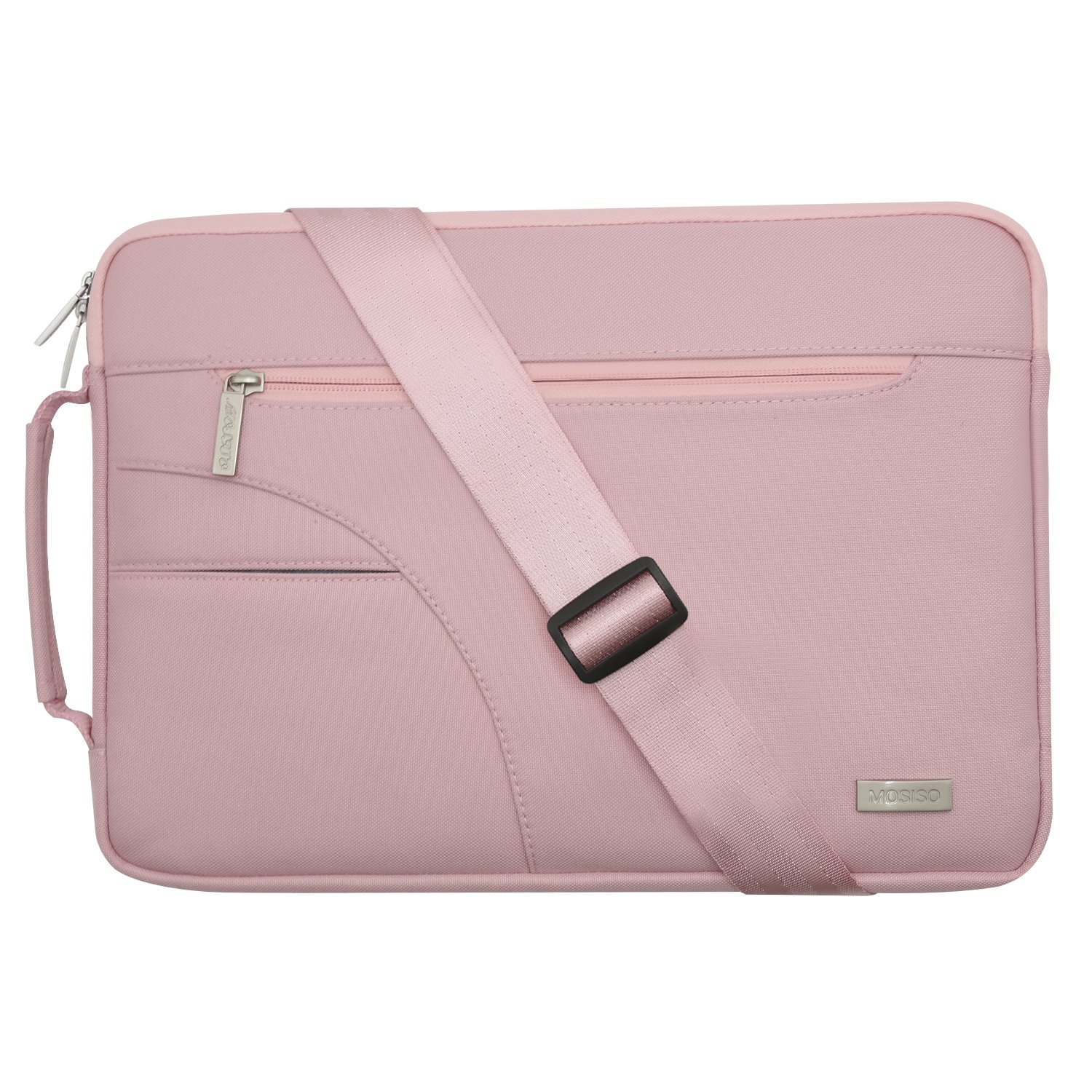 MOSISO Laptop Shoulder Bag Compatible 15-15.6 Inch MacBook Pro, Ultrabook Netbook Tablet, Polyester Ultraportable Protective Briefcase Carrying Handbag Sleeve Case Cover, Pink