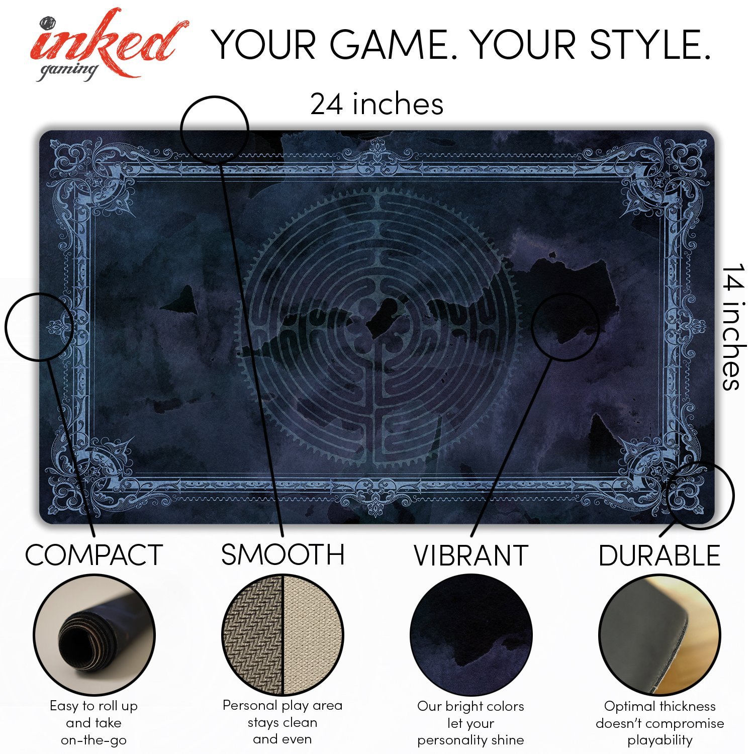 Inked Playmats Labryinth Morgan Playmat Inked Gaming Perfect for Card Gaming TCG Game Mat by Inked Playmats (Image #3)