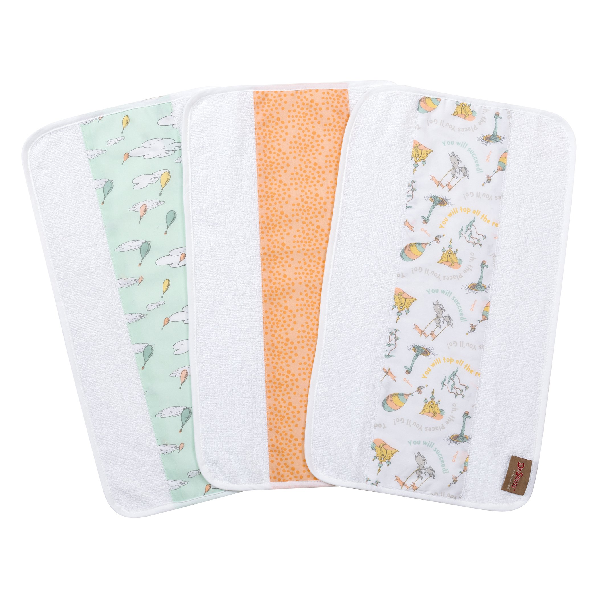 Trend Lab Dr. Seuss by Oh, The Places You'll Go! 3 Pack Jumbo Burp Cloth Set, Aqua, Orange, Yellow, Gray and White
