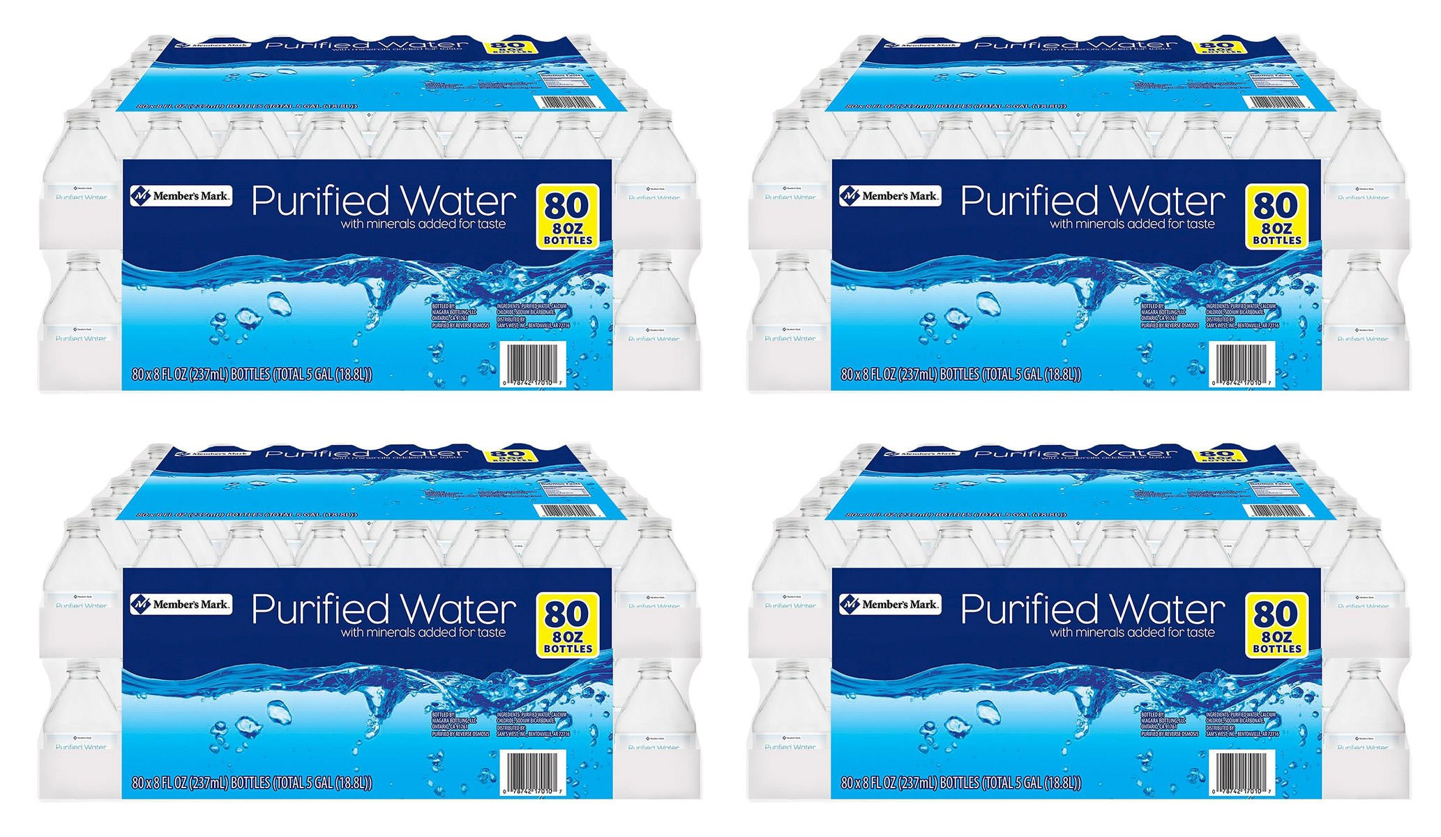 Member's Mark EXKT Purified Water, 4 Cases of 80 Count