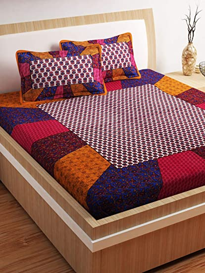 Story @ Home 120 TC 100% Cotton 1 Double Bedsheet and 2 Pillow Covers - Printed, Maroon