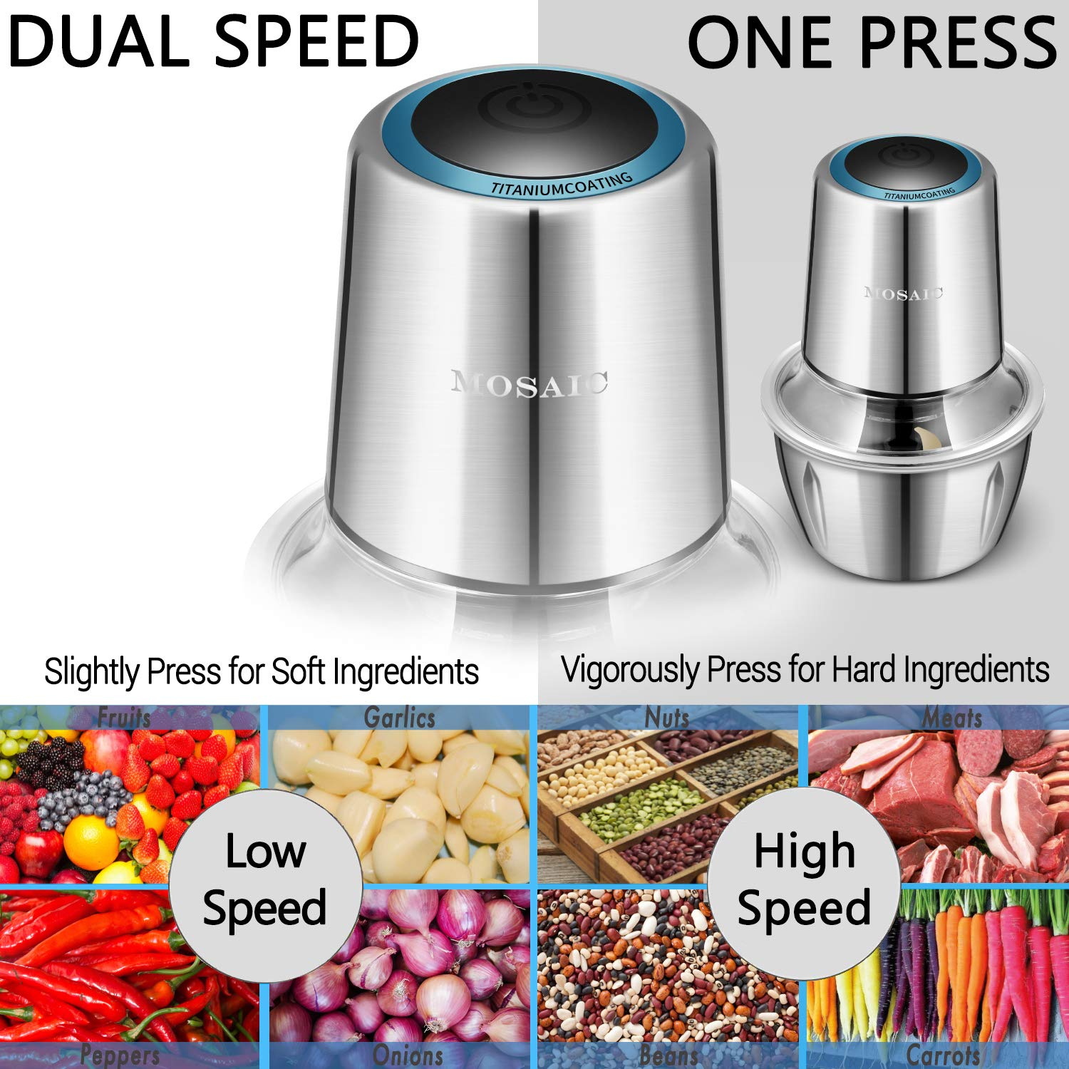 Electric Food Chopper, MOSAIC 400W Food Processor with Titanium Coating Blades and 5-Cup Stainless Steel Bowl, 2 Speed Kitchen Meat Grinder Mincer for Fruit Cheese Nuts – Upgrade Version