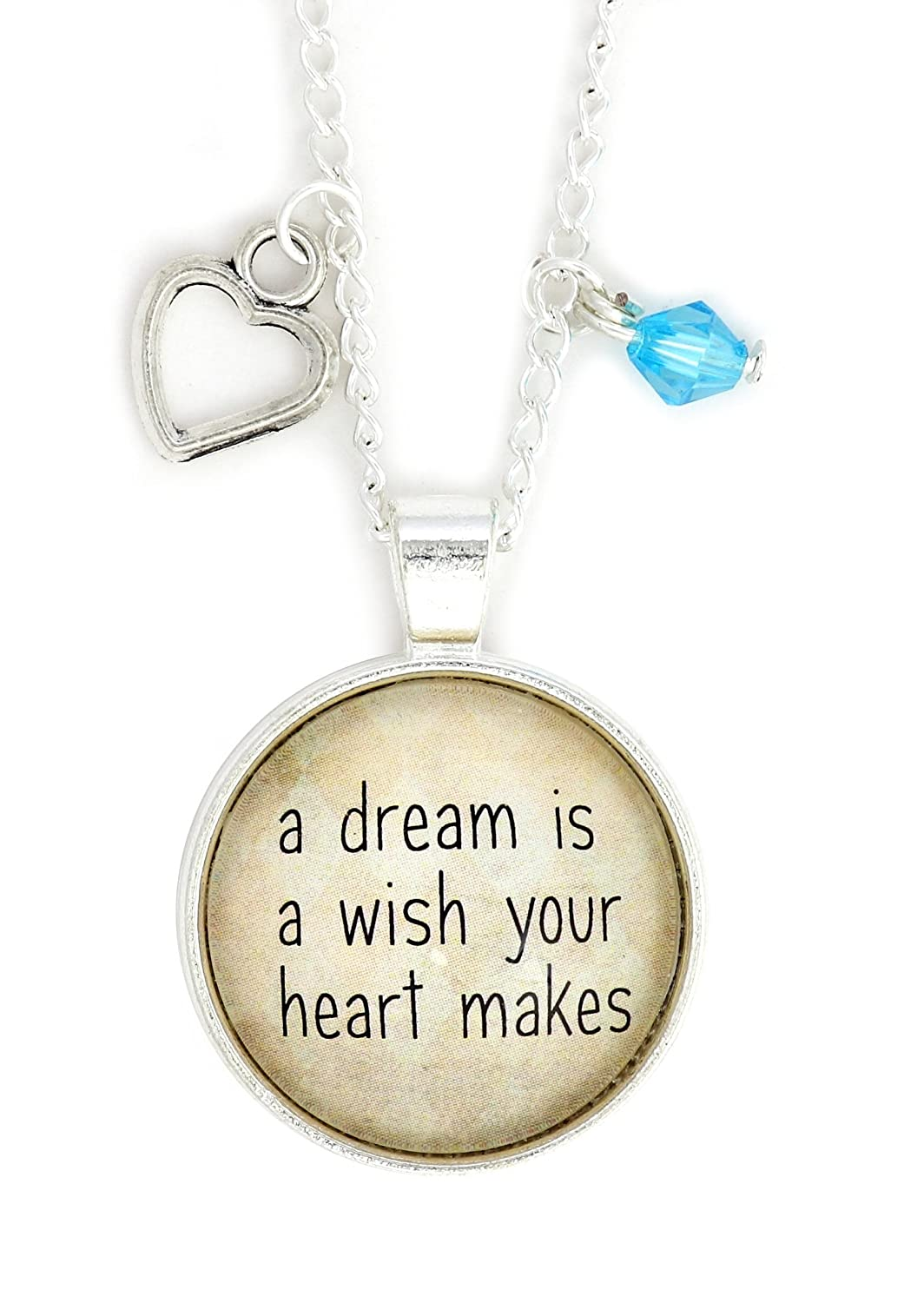 A Dream is a Wish Your Heart Makes Necklace Silver Tone NW61 Heart Shape Charm Pendant Fashion Jewelry