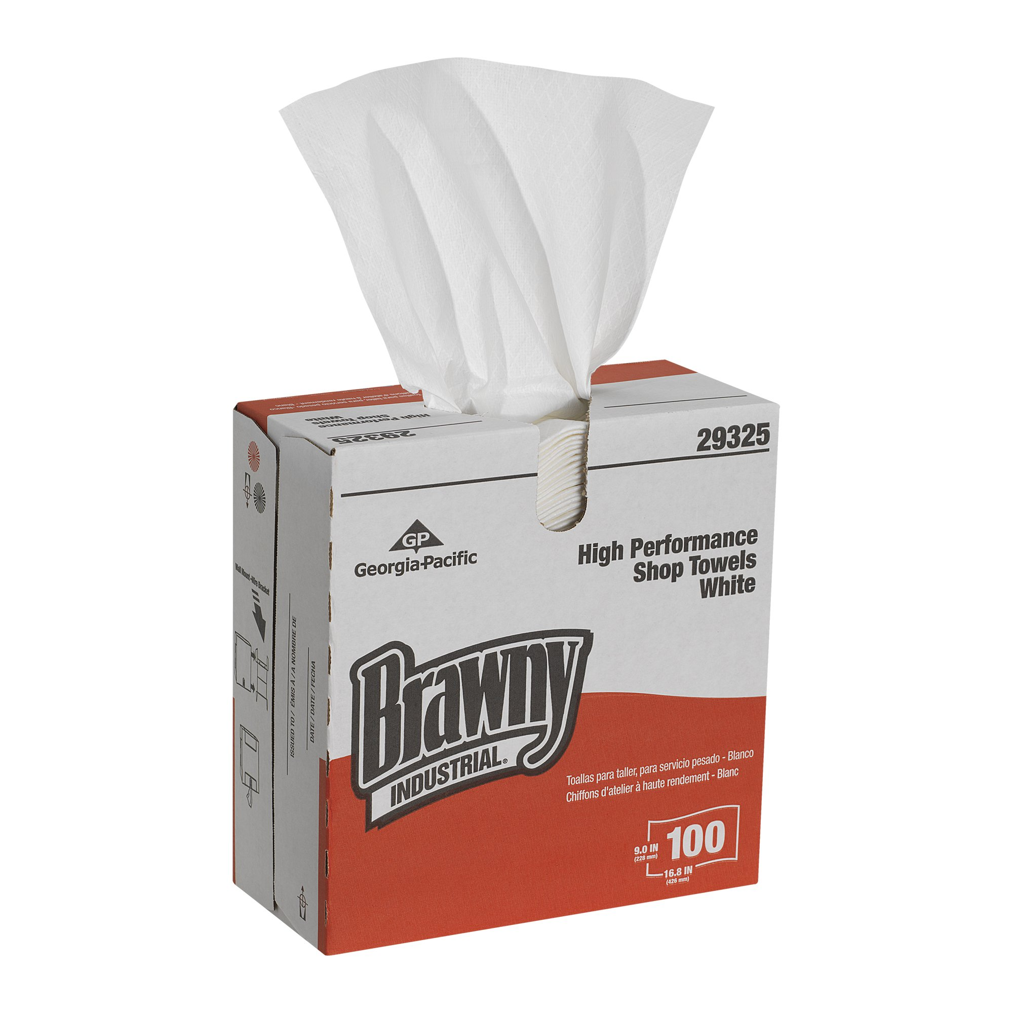 Brawny Industrial GP Pro Brawny Industrial H800 HEF Disposable Shop Towels, 29325, 100 Wipers Per Box (10 boxes Per Case), White
