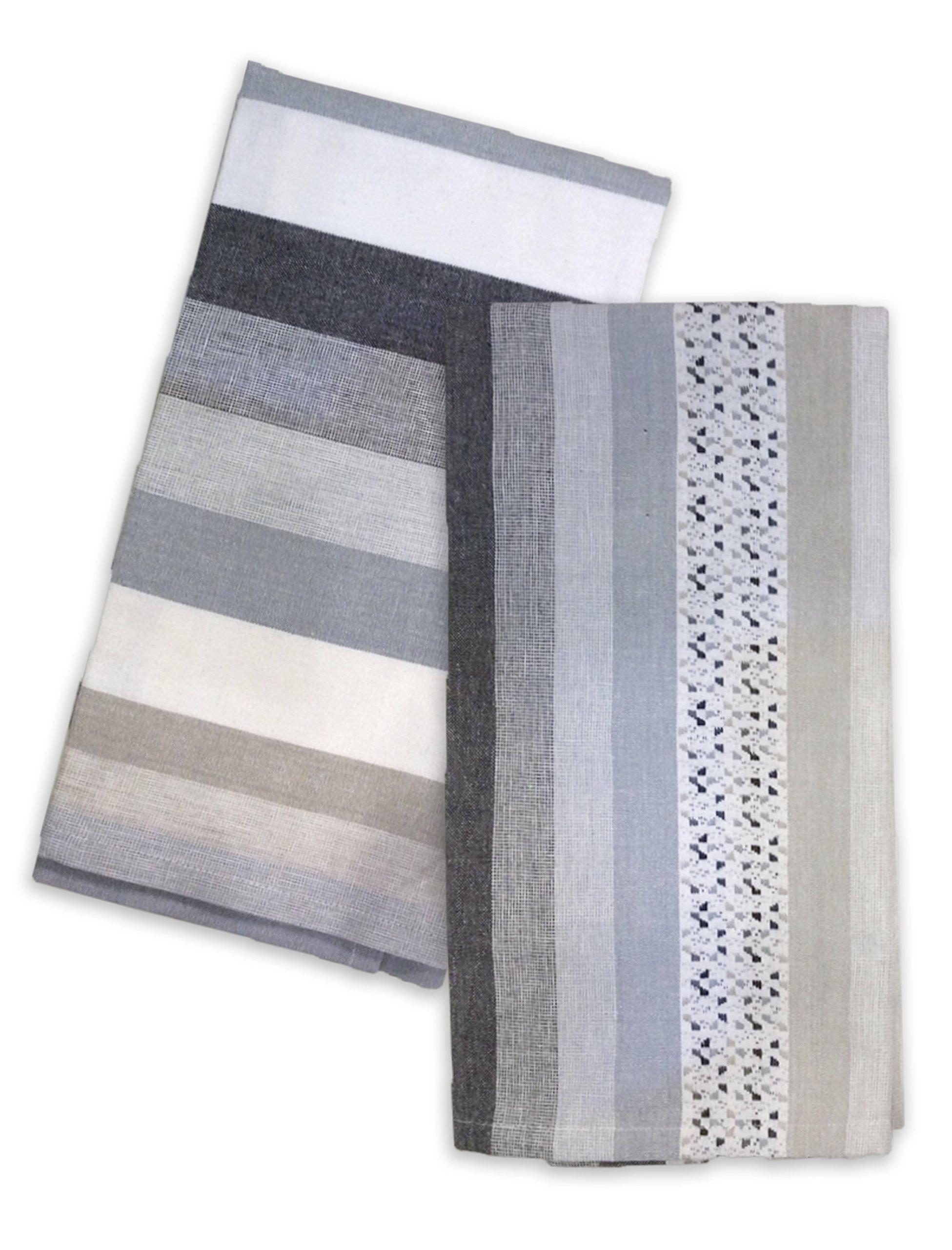 Hotel'' Fleck 2 Pack Kitchen Towel Set, 18x28, Grey, 2 Piece