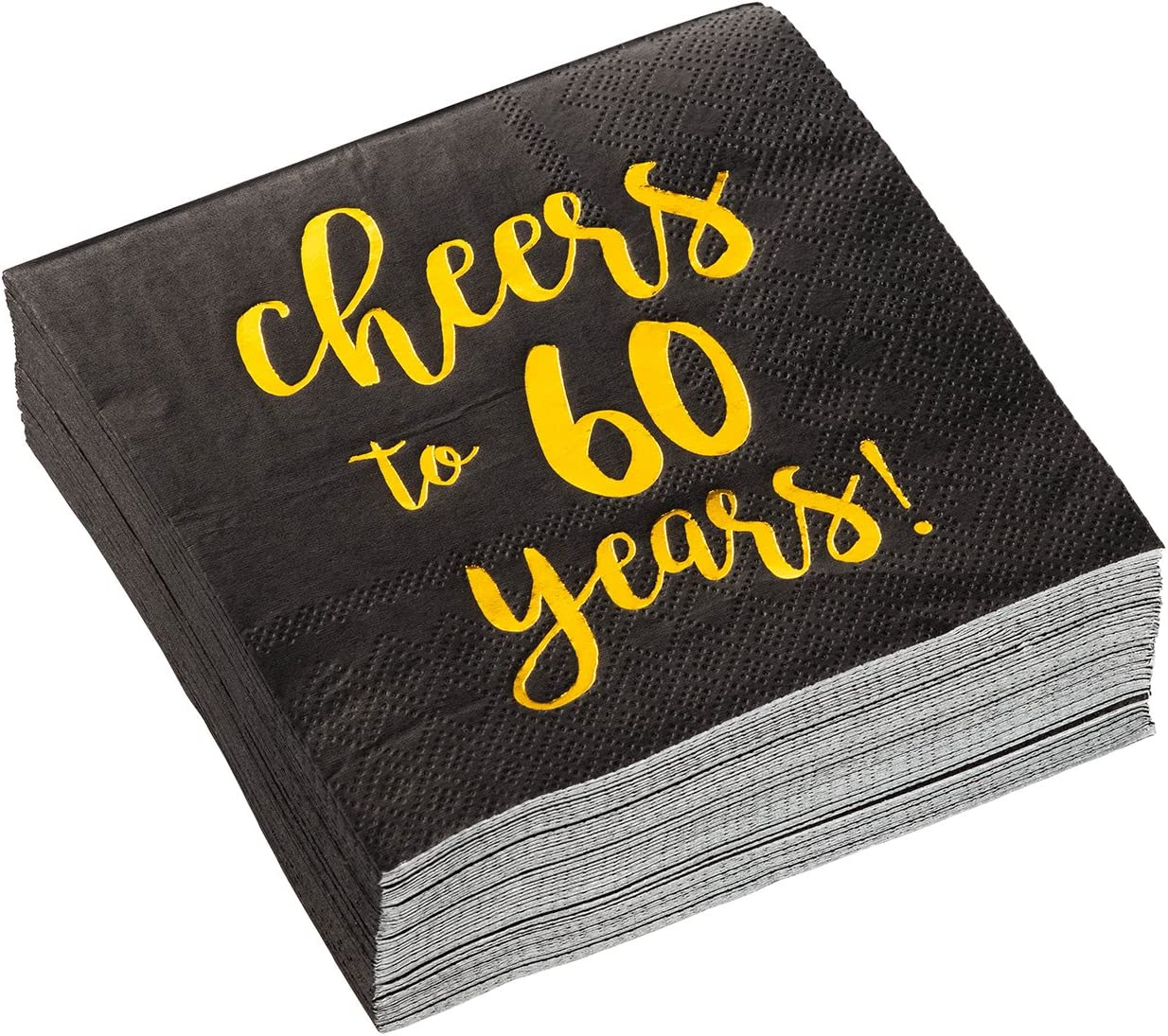 Gold Foil Cheers to 60 Years Black Cocktail Paper Napkins (5 x 5 In, 50 Pack)