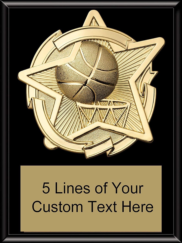 Express Medals 6 x 8 ブラック仕上げ バスケットボール スタープラーク トロフィー賞 カスタム刻印 カスタマイズ可 B07MY87G3W