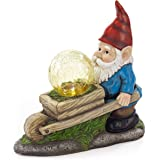 VP Home Wheelbarrow Gnome with Magic Orb Solar Powered LED Outdoor Decor Garden Light
