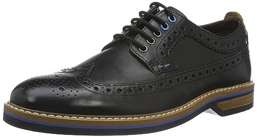 Clarks Pitney Limit, Zapatos de Cordones Oxford para Hombre, Negro (Black Leather), 45 EU