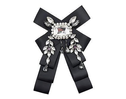 8873081b14968 Crystal Black Satin Ribbon Bow Tie Brooch Pin Shirt Tie Jabot Collar Neck  Tie Cravat(Black)