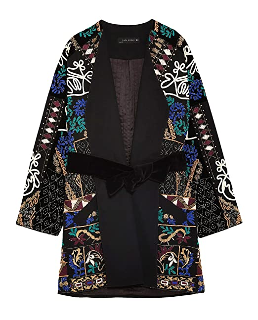 Zara Women Embroidered Kimono 7521 280 (Medium)  Amazon.ca  Clothing ... dfa4bf2fa58b1