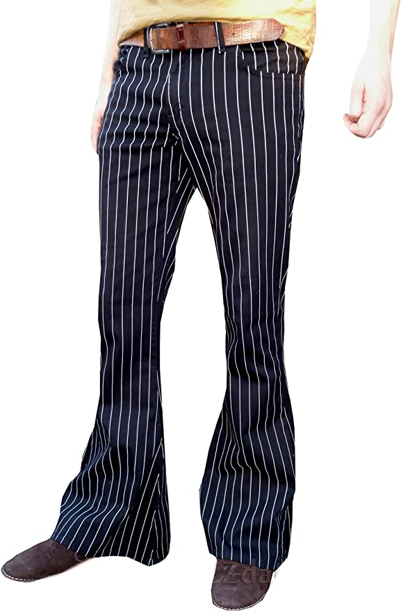 Men's Vintage Pants, Trousers, Jeans, Overalls Mens Bell Bottoms Flares Pin Striped Pinstripe Black Flared Pants Trousers £34.90 AT vintagedancer.com