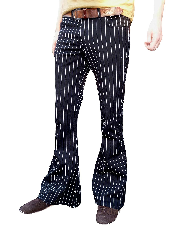 Bell Bottoms Flares Black & White Pin Stripe Striped Pants Jeans jm1407